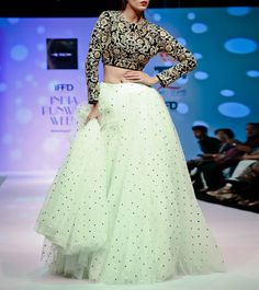 Mint Green Beadwork Net Lehenga With Navy Blue Zari Embroidered Velvet Crop Top Megha And Jigar - Google Search