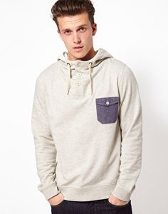 Enlarge ASOS Hoodie With Chambray Pocket And Elbow Patches