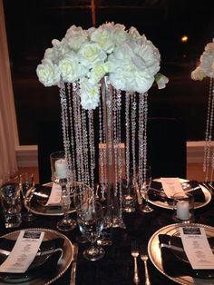 Crystal Wedding Centerpiece Tall Elegant Black And White