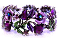 Purple Bracelet of Roses and Hearts Swarovski Crystals, Aurora Borealis on Etsy