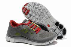 Nike Free Run 3 Zapatillas para Hombre Oscuros Grises/Universidad Rojas-Pro Platino-Voltios http://www.esnikerun.com/