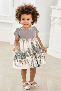 Buy Grey Printed Scene Prom Dress (3mths-6yrs) online today at Next: United States of America