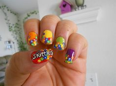 hand painted nail designs | Skittles design (left hand) - Nail Art Gallery