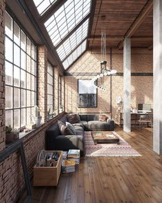 n industrial loft design was meant for an artist and it combines the best of both worlds. This industrial interior loft is a wonde Interior Design Examples, Industrial Interior Design, Vintage Industrial Decor, New Interior Design, Apartment Interior Design, Industrial Interiors, Interior Design Inspiration, Design Ideas, Room Interior