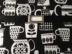 Items similar to Fabric Wall Pocket with one pocket / mail organizer, magazine holder, file folder organizer. Black and white teacups pots pattern on Etsy File Folder Organization, Cool Office, Magazine Holders, Office Accessories, Wall Pockets, Housewife, Teacups, Nest, Black And White