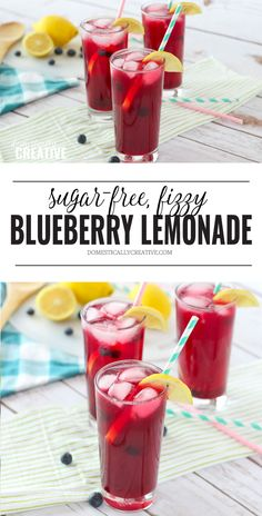 Fizzy Blueberry Lemonade--Sugar-Free Cool down this Summer with a refreshing and fizzy blueberry lemonade recipe that is both easy to make and sugar-free! Only a few simple ingredients needed! Sugar Free Punch Recipe, Sugar Free Lemonade Recipe, Sugar Free Juice, Blueberry Lemonade Recipes, Sugar Free Drinks, Diabetic Drinks, Healthy Drinks, Drinks Alcohol Recipes