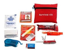 This compact survival kit is packed into a small sized travel bag. Ideal for emergency situations; keep in your home, car, workplace, or any other place. The travel bag contains the words 'Survival Kit' embroidered on the side and comes with a blue carabiner attached.