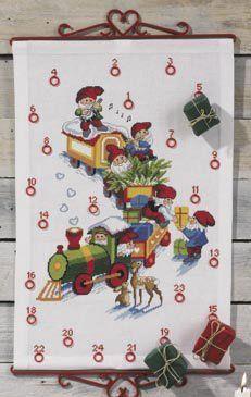 Advent Calendar Train w/Pixies - Cross Stitch Kit