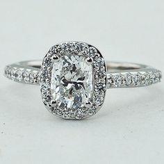 18K White Gold Fancy Diamond Halo Ring. Set with a 1.02 Carat, Cushion, Very Good Cut, E Color, SI1 Clarity Diamond. #BrilliantEarth