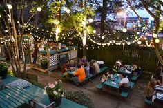 Starkville MS Dining Patio Bar Sports Bar Happy Hour The Beer Garden Restaurant Hotel Chester MS # Outdoor Restaurant Design, Deco Restaurant, Backyard Restaurant, Rustic Restaurant, Sport Bar Design, Cafe Design, Outdoor Cafe, Outdoor Dining, Magic Garden