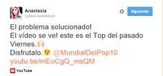 Anastasia público este Tweet compartiendo el vídeo del Top 20 ya publicado en Youtube.
