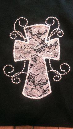 Appliqued lace cross t-shirt