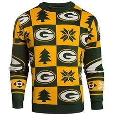 9eb832afaf Green Bay Packers NFL Patches Ugly Crewneck Sweater (L) Nfl Packers,  Packers Gear