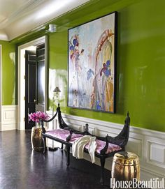 Lacquered green walls