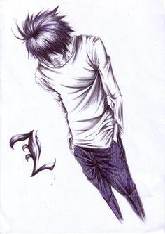 Tags: DEATH NOTE, L Lawliet, Sketch, Artist Request