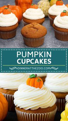 Fall Dessert Recipes, Fall Desserts, Delicious Desserts, Pumpkin Spice Cupcakes, Pumpkin Dessert, Pumpkin Puree, Fall Baking, Holiday Baking, Thanksgiving Cupcakes