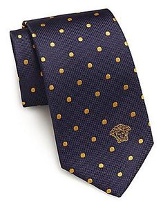 Versace Collection Woven Polka Dot Silk Tie - Blue Violet - Size No Si Mature Mens Fashion, Nice Suits, Guy Outfits, Tie Pattern, Neck Ties, Pocket Squares, Dress Shirts, Discount Designer, Versace