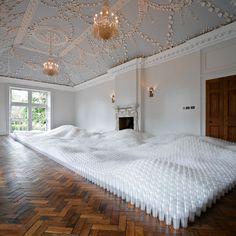 Tara Donovan's 'Untitled (Plastic Cups)' at Jupiter Artland in Scotland.  Amazing ballroom too!