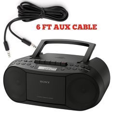 Sony Stereo CFDS70BLK CD/Cassette & Radio AM/FM Boombox Home Audio Radio, Black - Can work on Batteries for Travleing (CFDS70BLK) includes a 6 Foot I-kool Heavy Duty Aux Cable
