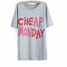 29,90EUR T-Shirt grau mit bunter Schrift in pink rosa www.pinjafashion.com