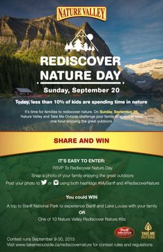 Join Rediscover Nature Day on Sept 20 and pledge to spend an hour outside with nature, as an incentive you'll be entered to Win a Trip to Banff Alberta Alberta Travel, Banff Alberta, Win A Trip, Enter To Win, Get Outside, The Great Outdoors, The Outsiders, Challenges, Change
