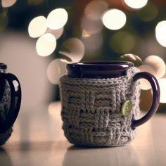 The Big Basket Blog | DIY Crocheted Basket-Weave Mug Cozy