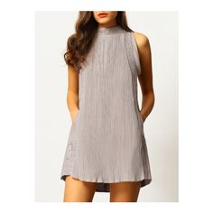 SheIn(sheinside) Grey Sleeveless Ruched Lace Dress (€32) ❤ liked on Polyvore featuring dresses, grey, grey lace dress, ruched dress, short sundresses, lace sleeve dress and lace sundress