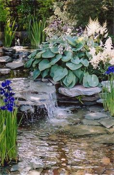 77 Awesome Small Waterfall Pond Landscaping Ideas - nicholas news Pond Waterfall, Small Waterfall, Backyard Water Feature, Ponds Backyard, Backyard Stream, Garden Ponds, Backyard Ideas, Pond Landscaping, Landscaping With Rocks
