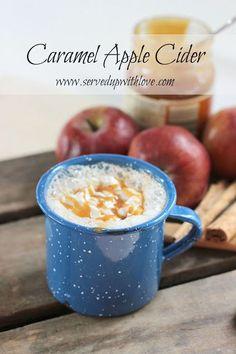Served Up With Love: Caramel Apple Cider-Warm apple cider with whipped cream and caramel drizzle. http://www.servedupwithlove.com