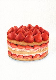 ORIGINAL Painting  Strawberry Cake Colorful por ForestSpiritArt, £40.00