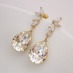 Gold Bridal Earrings Cubic Zirconia Earrings with Clear Swarovski Crystal Teardrops $38