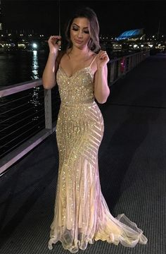 elegant mermaid champagne formal evening party dresses , chic beaded party dresses #evening
