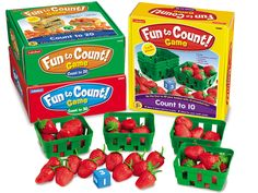 Kids learn to count with colorful strawberries, blueberries and oranges found in Lakeshore's Fun to Count! Games.