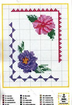 angular border with flowers frame - free cross stitch patterns crochet knitting amigurumi Cross Stitch Geometric, Cross Stitch Borders, Cross Stitch Rose, Cross Stitch Flowers, Cross Stitch Charts, Cross Stitch Designs, Cross Stitching, Cross Stitch Embroidery, Cross Stitch Patterns