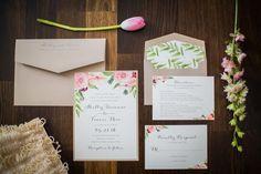 Romantic floral watercolor wedding invitation. Peach Paper & Design