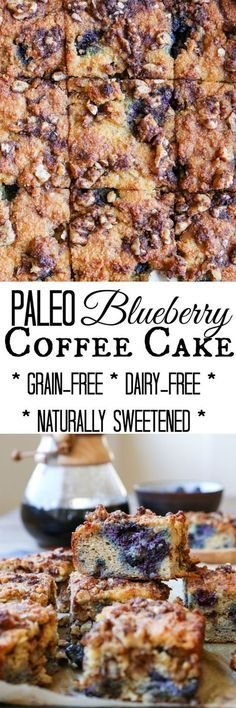 Paleo Blueberry Coffee Cake - a grain-free refined sugar-free dairy-free version of the classic breakfast cake. Only takes a few minutes to prepare in your blender! Paleo Dessert, Healthy Dessert Recipes, Healthy Desserts, Paleo Recipes, Paleo Baking, Gluten Free Baking, Gluten Free Desserts, Breakfast Cake, Paleo Breakfast