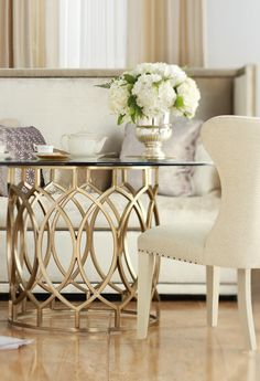 Bernhardt   Salon Table and Upholstered Wing Dining Chair   center table, living room, dining room, anywhere
