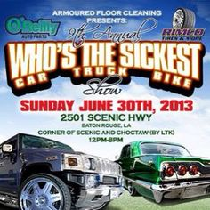 Come check out the Who's the Sickest car, truck, and bike show this weekend in Baton Rouge, LA! The event will take place this Sunday from 12PM - 8PM. Event details here: www.facebook.com/gorimco