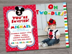 HUGE SELECTION Mickey Mouse Birthday Invitation - Red Yellow Mickey Mouse Birthday Party Invitations - Mickey Mouse Clubhouse Invitation