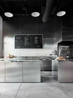 Modern open kitchen restaurant design open kitchen at bad lab beer co restaurant kitchen cabinets . Layout Design, Design Café, Nordic Design, Cafe Interior Design, Kitchen Interior, Restaurant Kitchen Design, Architecture Restaurant, Interior Architecture, Stainless Kitchen