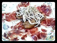 Setas a la plancha, gulas y jamón. Tahona Artesanal Gourmet Bilbao.