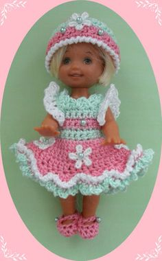 "Crochet Doll Clothes Pink Mint Flowers for 4 ½"" Kelly Same Sized Dolls 
