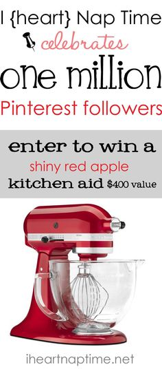 Enter to win a shiny red kitchen aid with glass bowl on iheartnaptime.net #giveaway