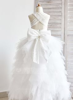 Ball Gown Straps Ankle-length Bow(s) Tulle Lace Sleeveless Flower Girl Dress Flower Girl Dress