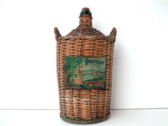 Antique French demijohn OLIVE OIL bottle in basket. by Chanteduc, $135.00