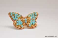 Bead Embroidery Brooch - Blue on Gold Butterfly - Hulan Jade Swarovski Crystals - Handmade Jewelry by Splendid Beads