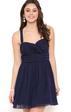 Deb Shops Chiffon Carefree Short Prom Dress with Ruched Tank Bow Straps $62.50