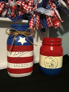 Hand painted, distressed and sealed Fourth of July mason jars. Perfect for table centerpieces with some gorgeous fresh flowers (inside of jar is not painted) or take them outside and use them as your picnic utensil and napkin holders. Jars are painted and sealed on the outside only. Jars should not be submerged in water, outside of jars may be wiped down with damp rag. American Flag jars (as pictured) are available in quart size for $9 or pint size (as pictured) for $7.  THIS SET INCLUDES…