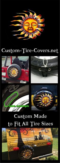 Sleeping Sun spare tire cover by Dubois Studios. Custom made to fit your exact tire size. Custom Tire Covers, Spare Tire Covers, Sleeping Sun, Tire Size, Sun Stock, Boat Seats, Transportation, Personality, Studios