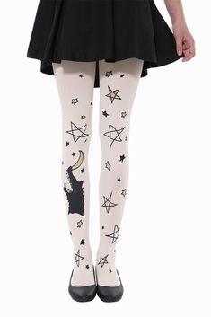 Cute Stars And Moon Tights Nylons, White Tights, Cute Stars, Thigh High Socks, Stocking Tights, Fashion Tights, Cool Socks, Textiles, Daily Fashion